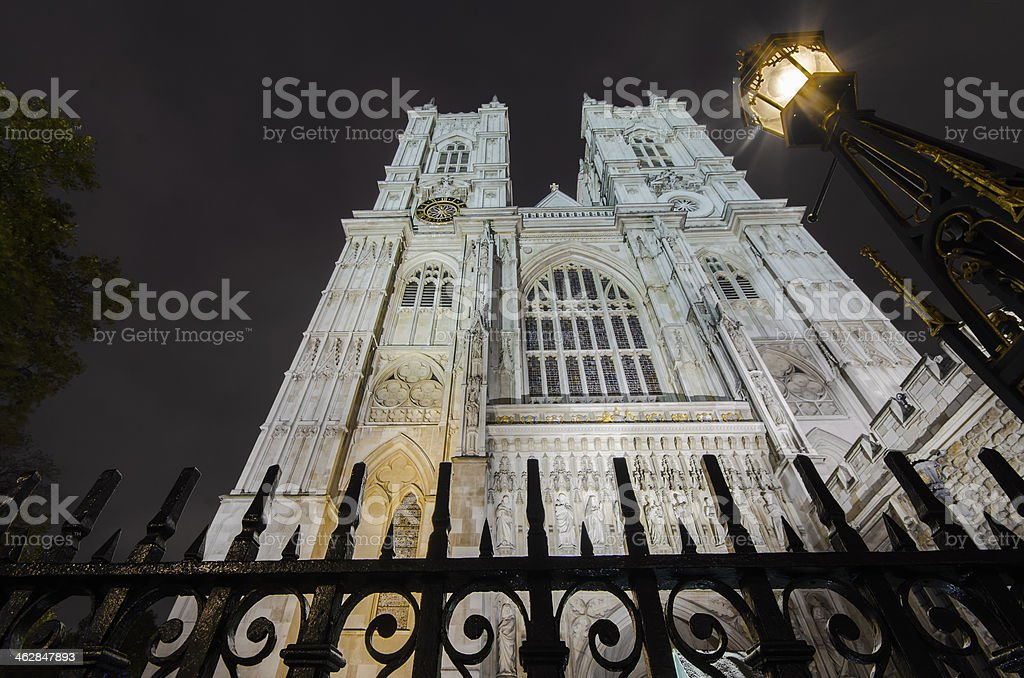 Westminister Abbey catedral from below with dramatic sky, London Image stock photo