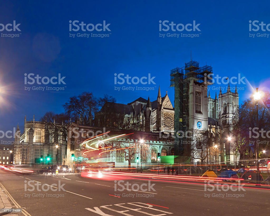 Westminster Abbey and London bus stock photo