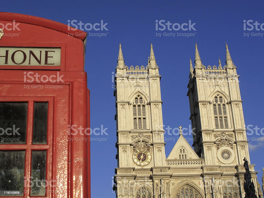 Westminster Abbey And Red London Phone Box royalty-free stock photo