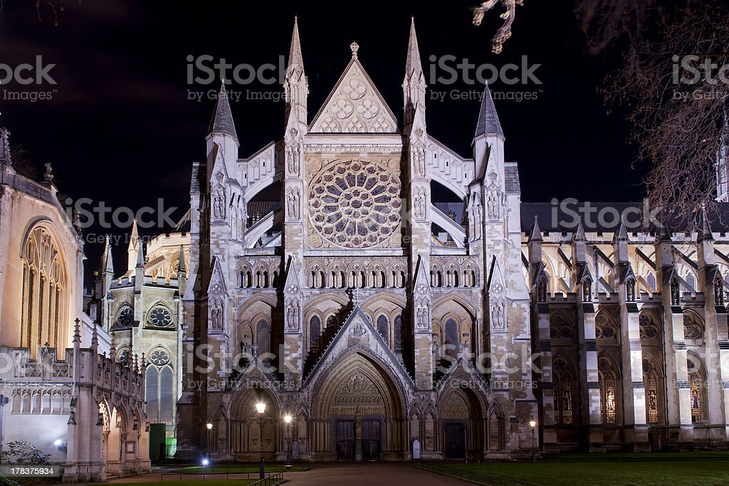 westminster abbey illuminated by night stock photo
