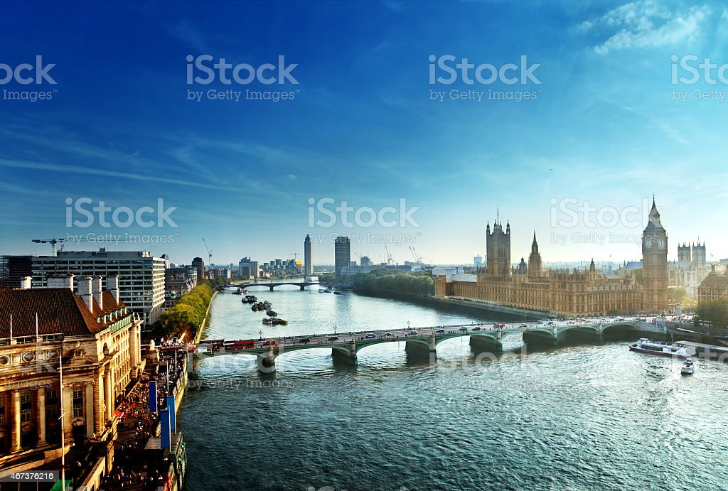 Westminster aerial view, London, UK stock photo