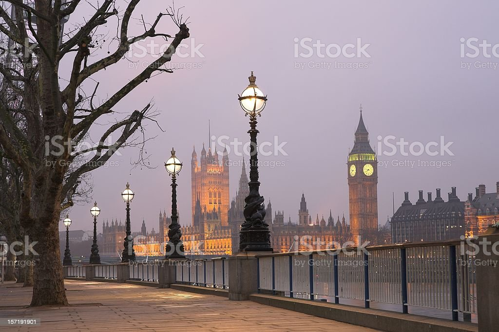 Westminster and Big Ben Clock at dawn royalty-free stock photo