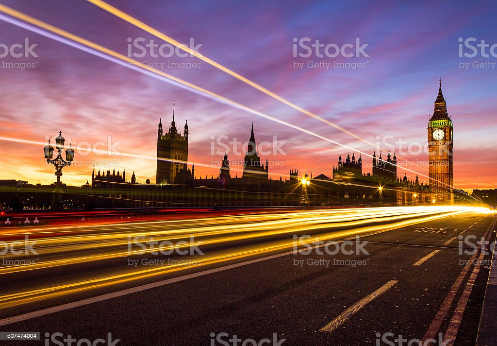 Westminster and colorful sunset stock photo