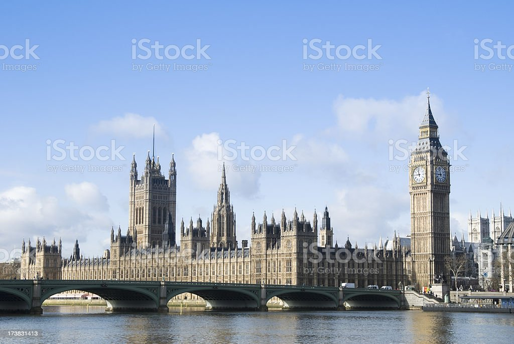 Westminster and Houses of Parliament royalty-free stock photo