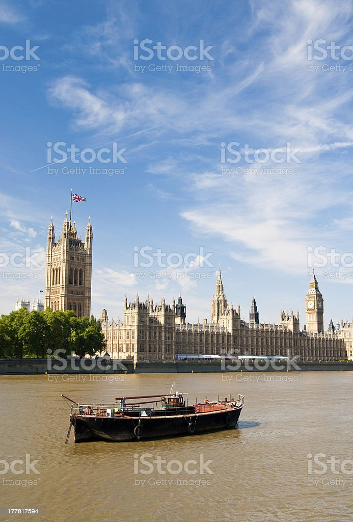 Westminster and Thames river royalty-free stock photo