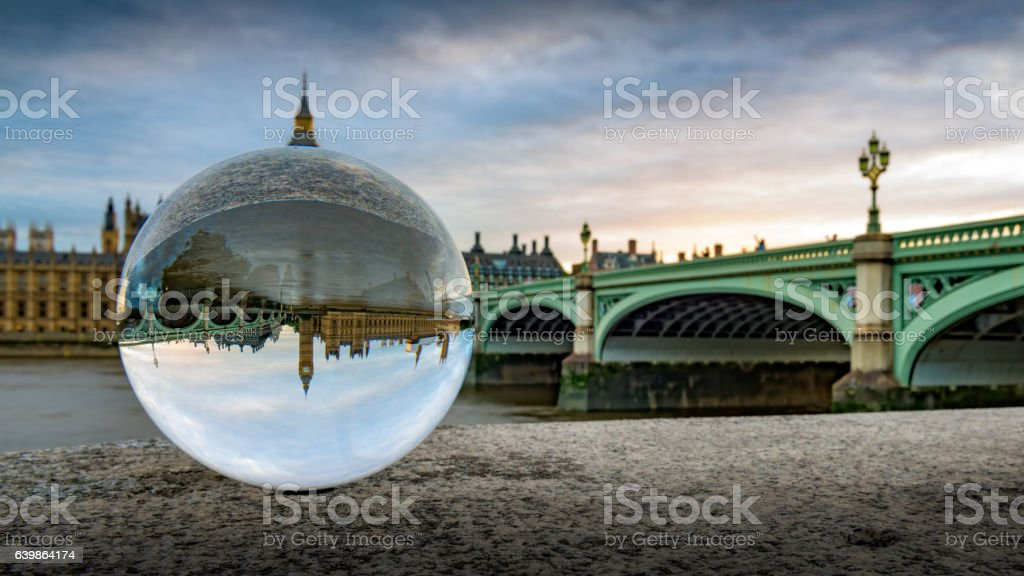 Westminster and Westminster Bridge seen through a crystal ball stock photo