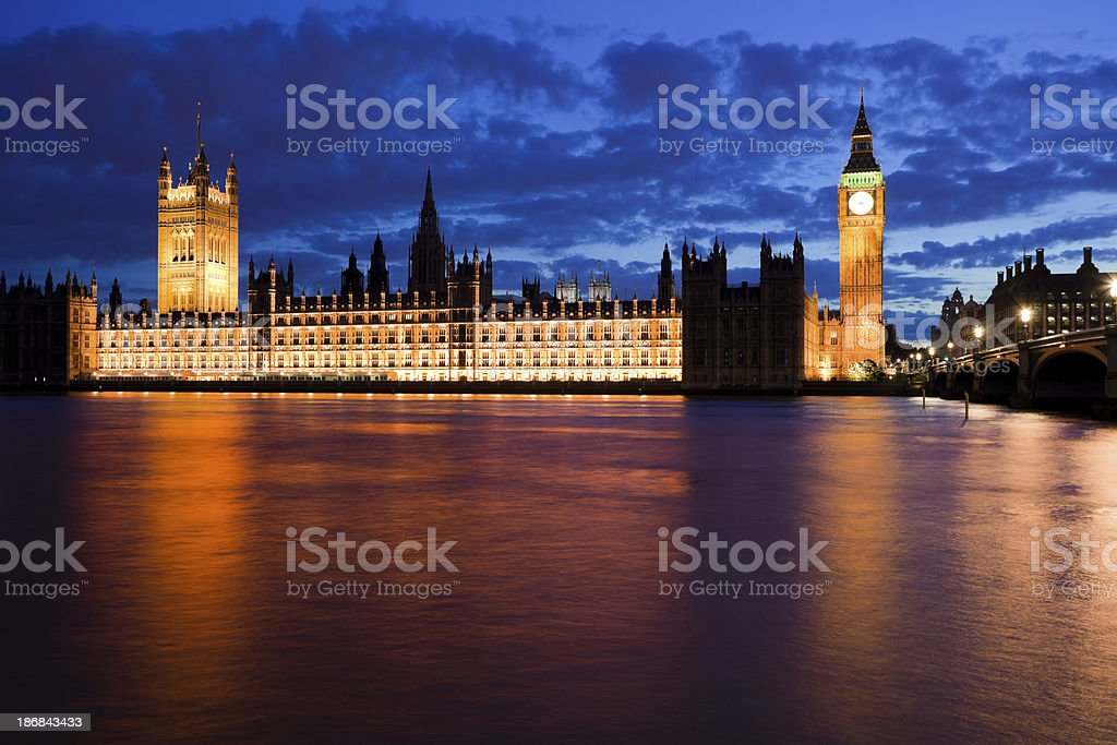 Westminster at Dusk and Big Ben royalty-free stock photo
