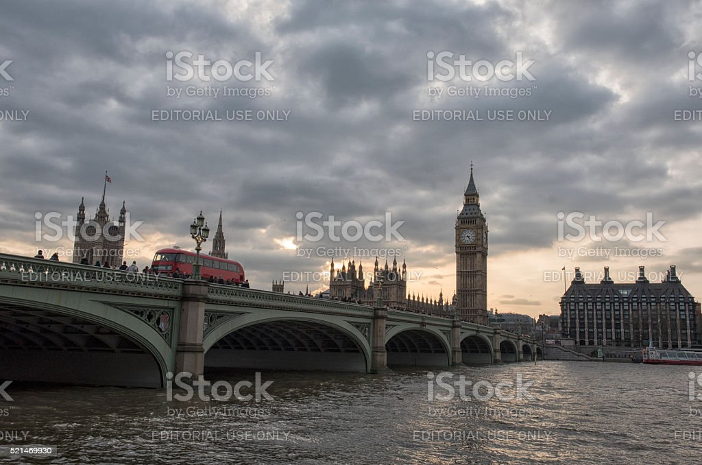 Westminster bridge and Big Ben in London stock photo