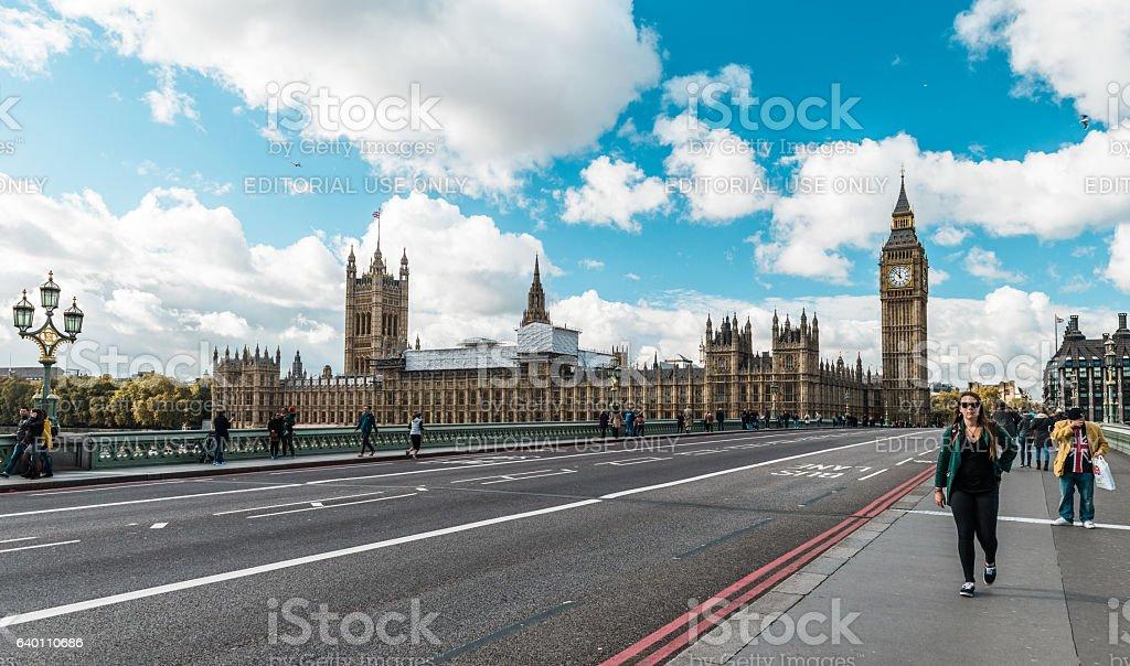 Westminster Bridge and Big Ben in London, UK stock photo