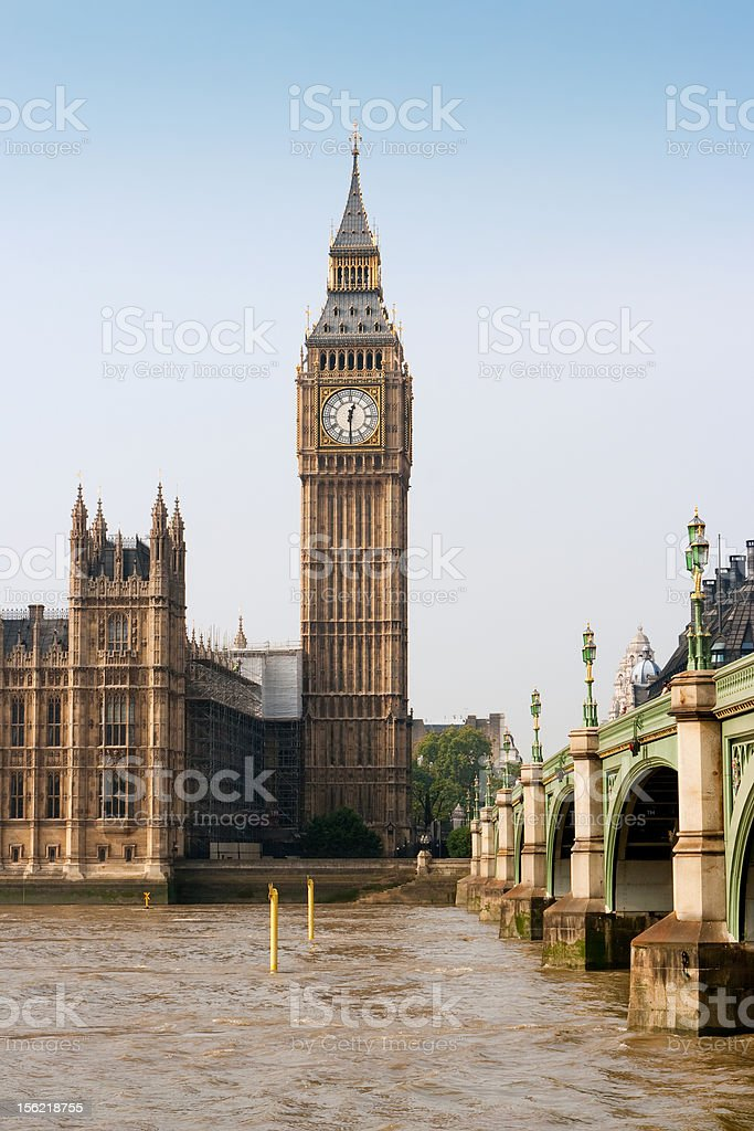 Westminster bridge and Big Ben. London, England royalty-free stock photo