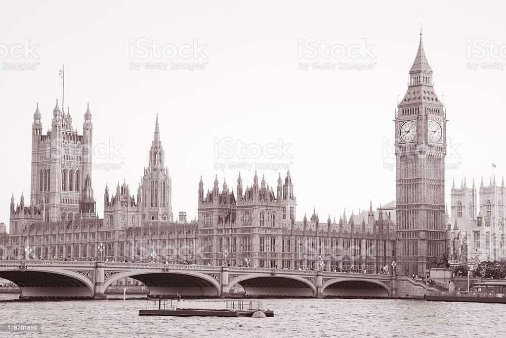 Westminster Bridge and Big Ben, London royalty-free stock photo