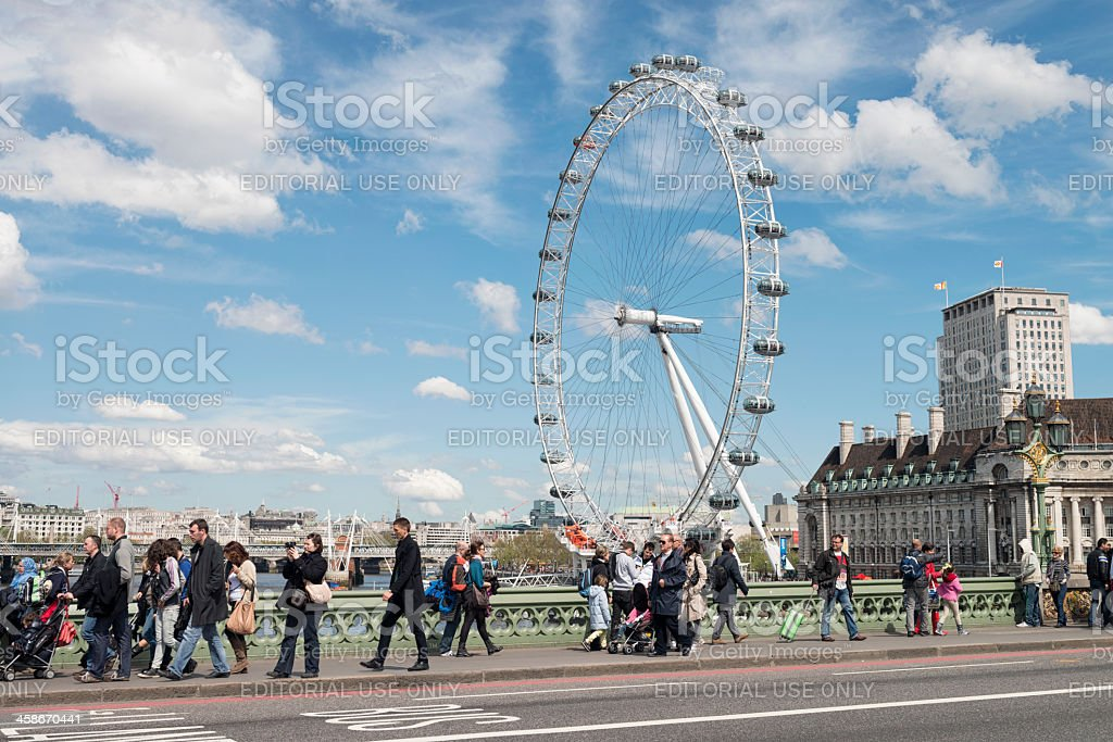Westminster Bridge and Millennium Wheel stock photo