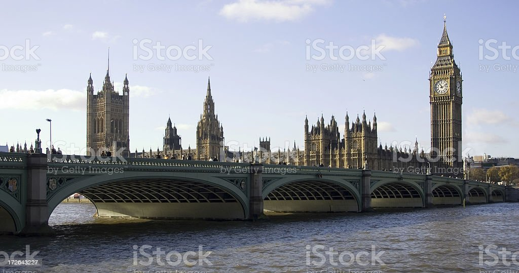 westminster bridge and parliament royalty-free stock photo