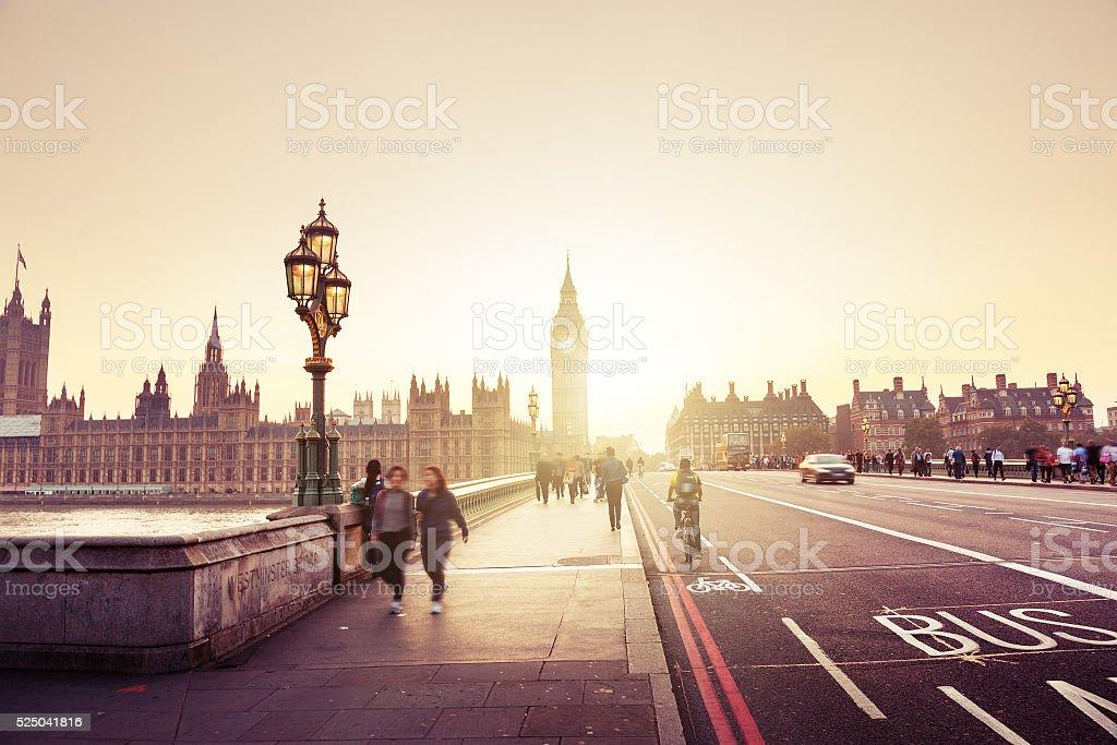Westminster Bridge at sunset, London, UK stock photo