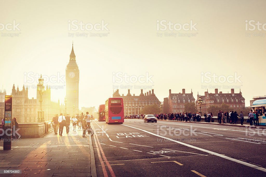 Westminster Bridge at sunset, London, UK stock photo