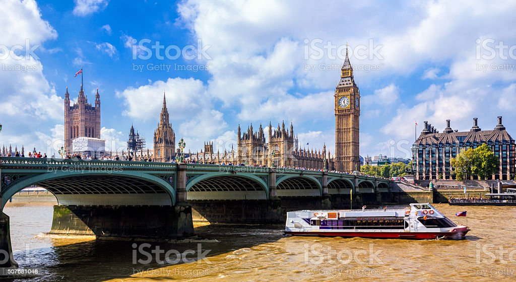 Westminster Bridge, Big Ben and Houses of Parliament. stock photo