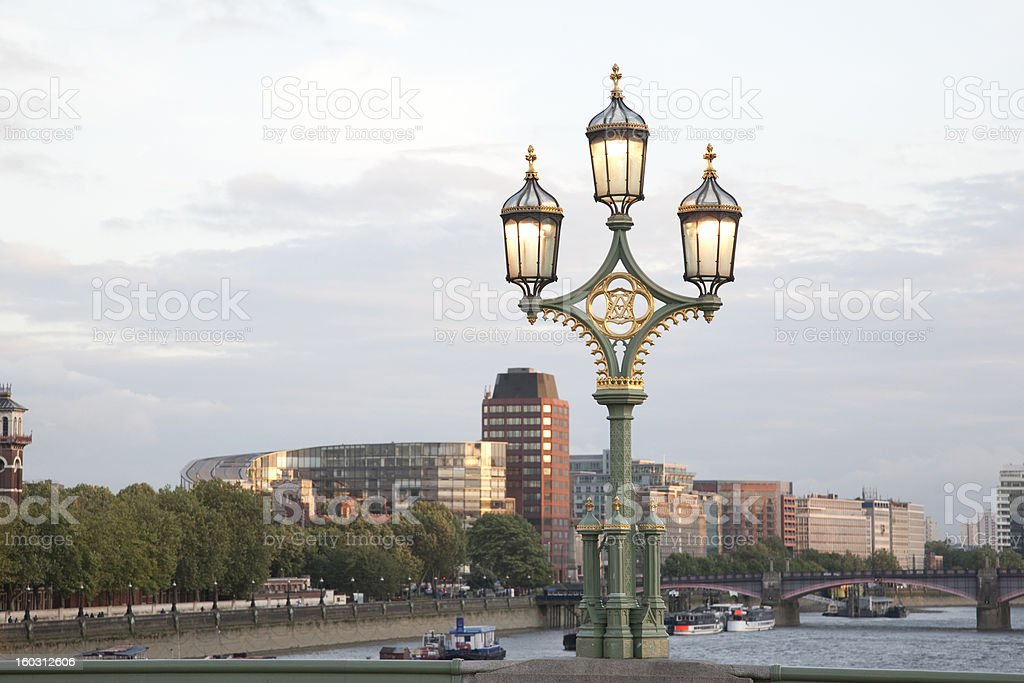 Westminster Bridge Lamppost; London royalty-free stock photo