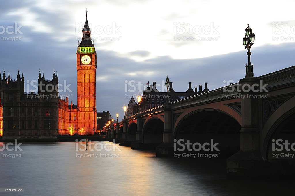 Westminster Bridge with Big Ben in London stock photo