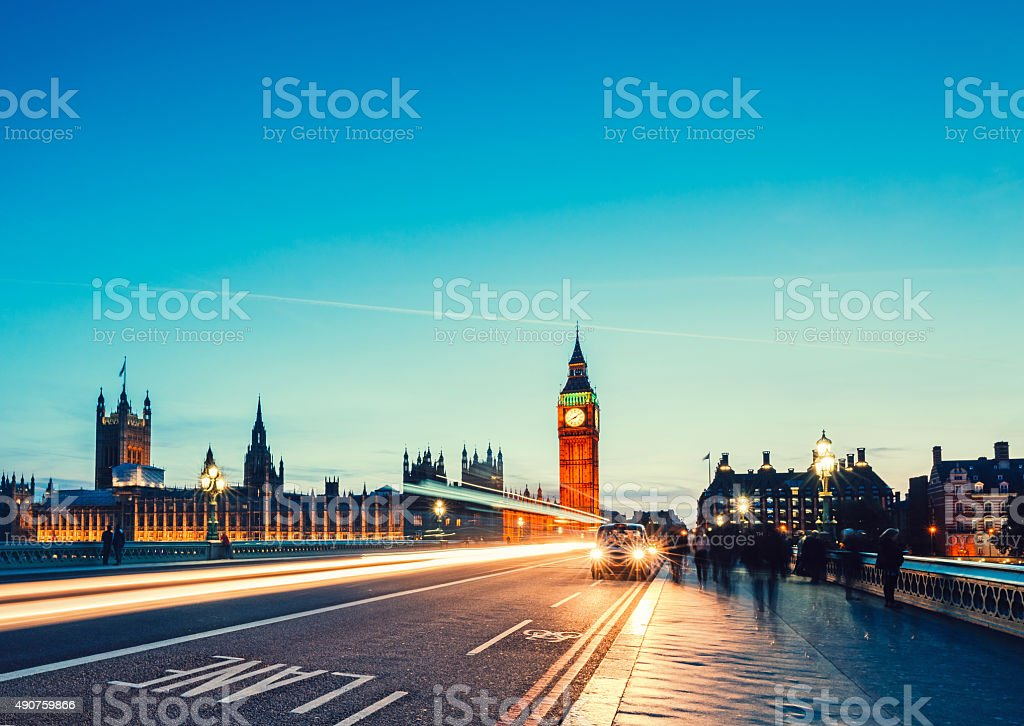 Westminster Bridge with Big Ben in London stock photo