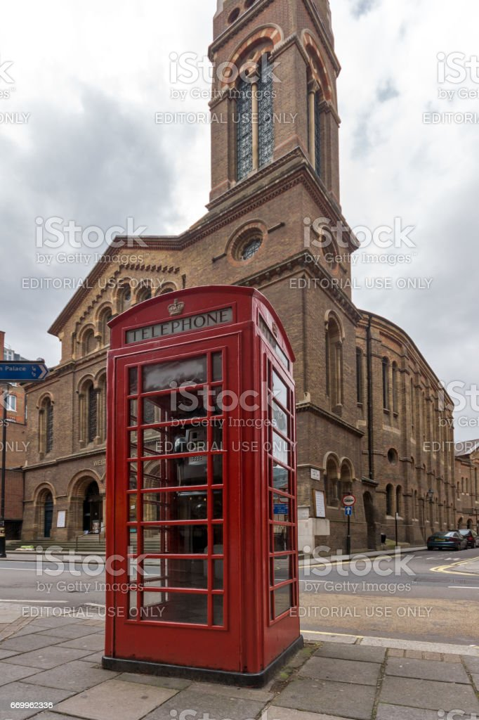 Westminster Chapel and phone booth, London, Great Britain stock photo