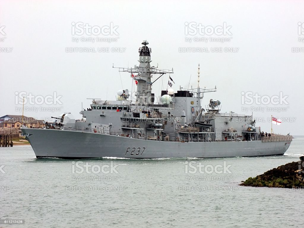 HMS Westminster Entering Portsmouth stock photo