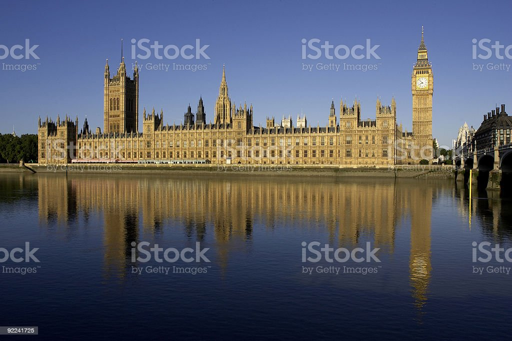 Westminster Houses of Parliament with Big Ben in background royalty-free stock photo