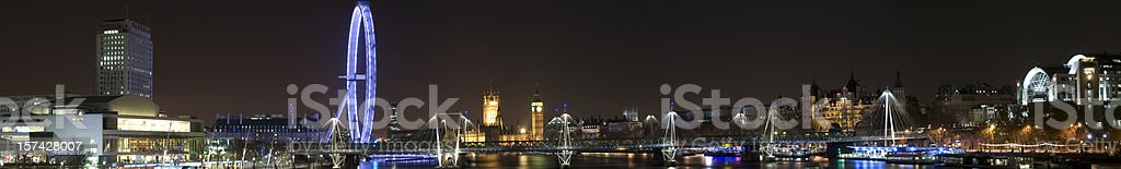 Westminster, London, panorama at night, skyline, Jubilee Bridge royalty-free stock photo