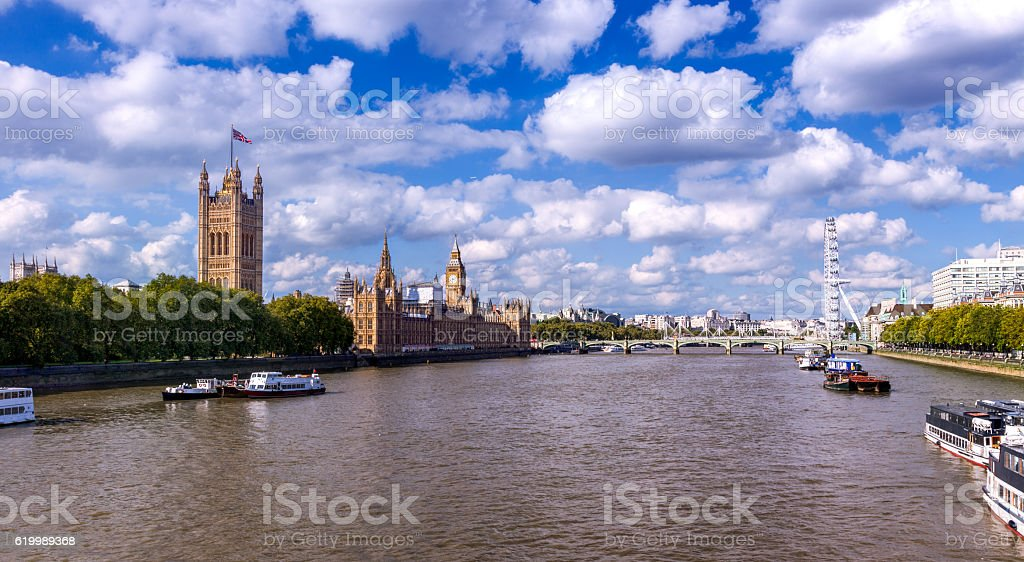Westminster Palace and  London Eye  in City of Westminster, London, UK stock photo