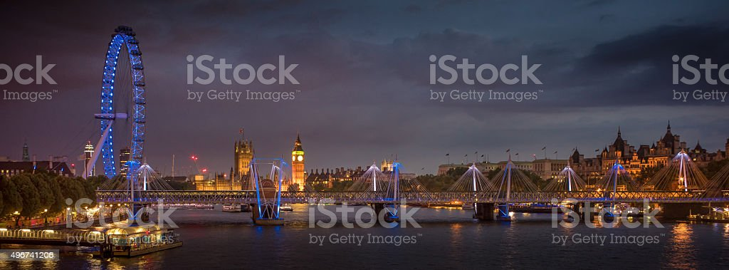 Westminster Palace and South Bank London Panorama stock photo