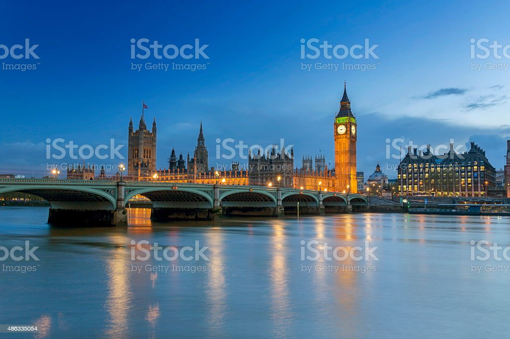 Westminster Palace in London at dusk stock photo