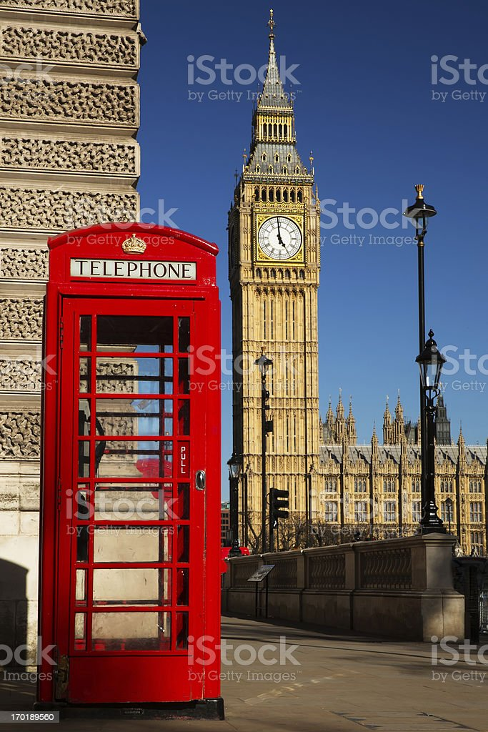 Westminster phone box royalty-free stock photo