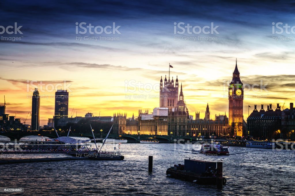 Westminster sunset stock photo