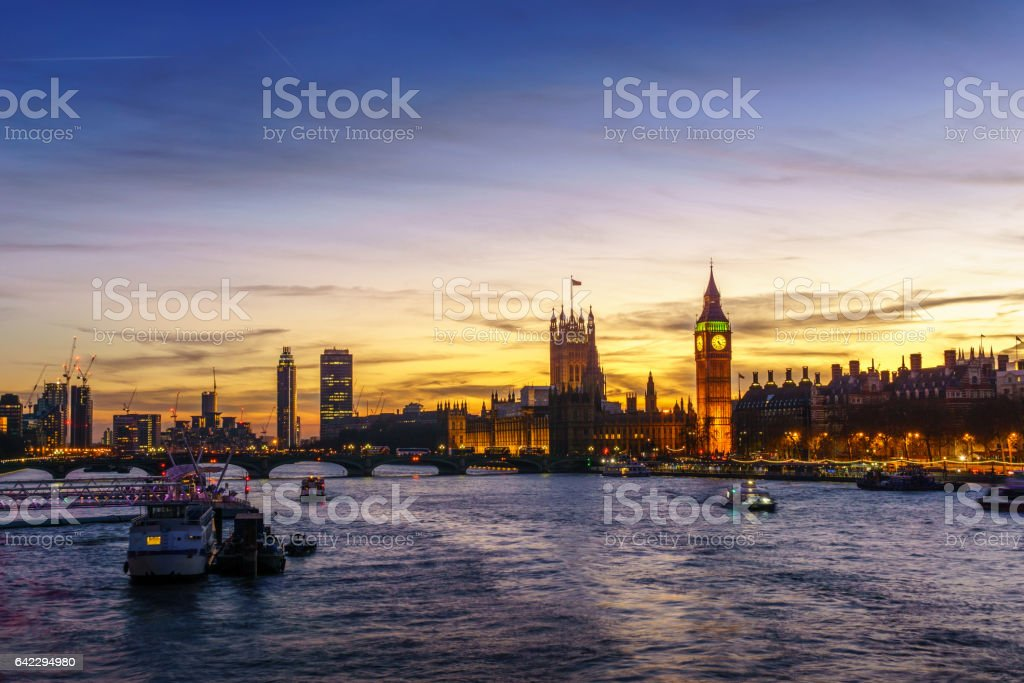 Westminster sunset stock photo