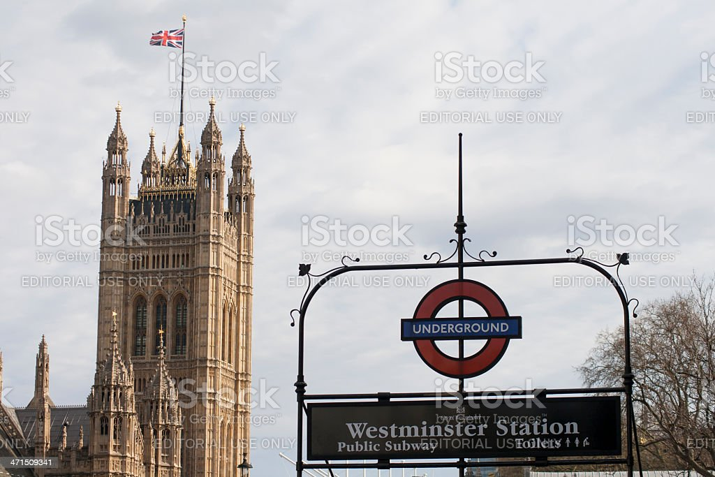 Westminster Underground station sign stock photo