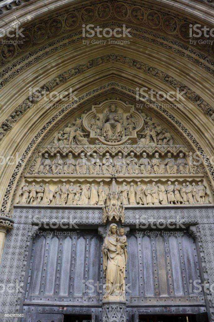 Westportal main entrance of Westminster Abbey in London, United Kingdom stock photo