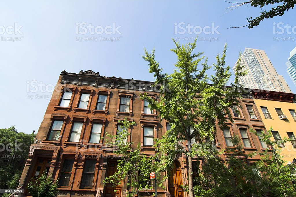 Westside Clinton Brownstones stock photo