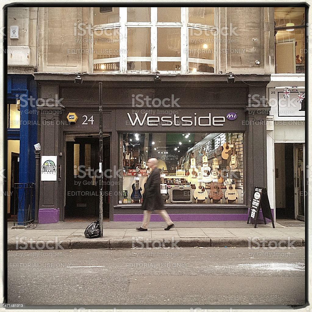 Westside Guitar Shop, Tin Pan Alley, London. royalty-free stock photo