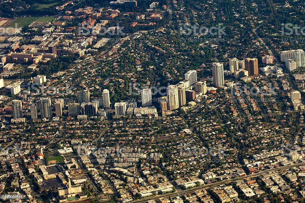Westwood, Los Angeles, California, aerial view stock photo