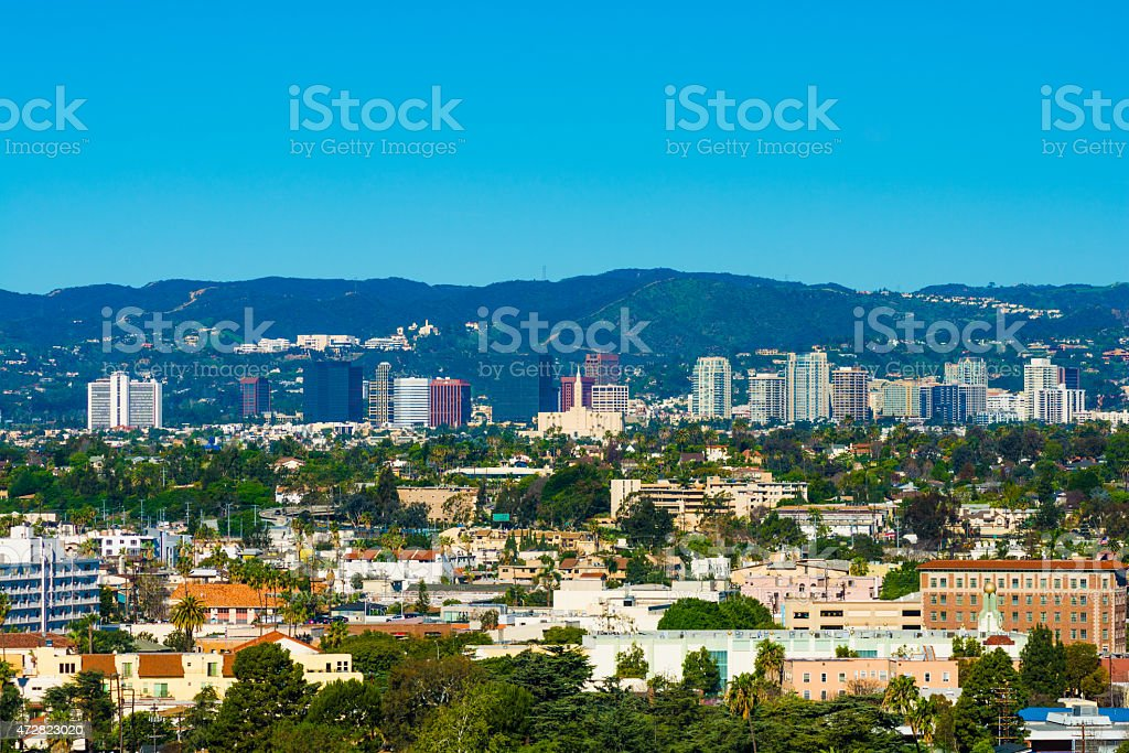 Westwood, Los Angeles skyline and mountains stock photo