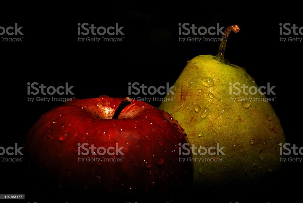 wet apple and pear royalty-free stock photo