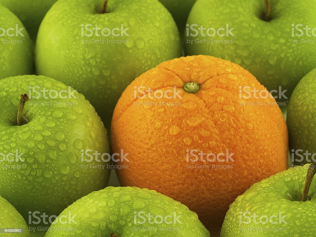 Wet Apples and Orange royalty-free stock photo