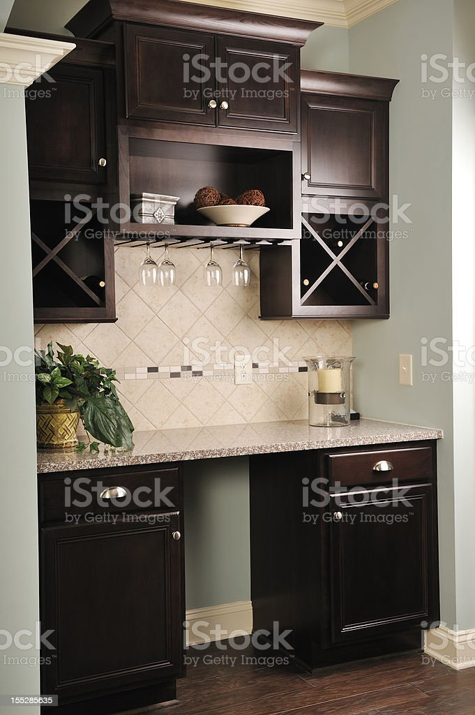 Wet Bar in Home Interior. stock photo