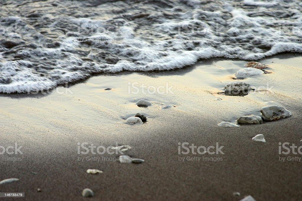 Wet Beach at Sunset royalty-free stock photo