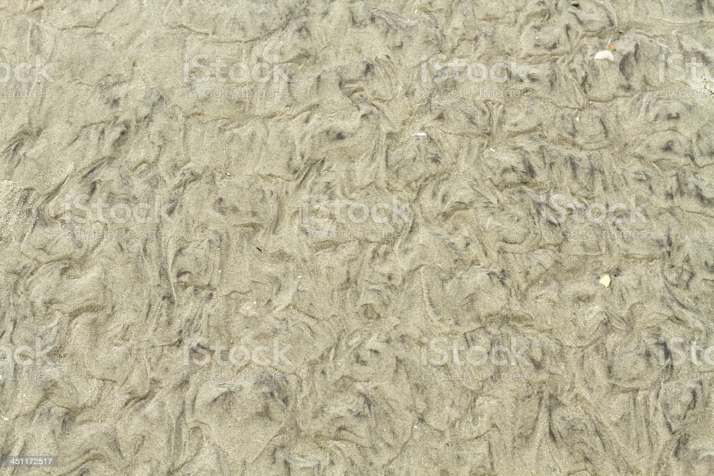 Wet Beach Sand Natural Ripple Abstract Pattern royalty-free stock photo