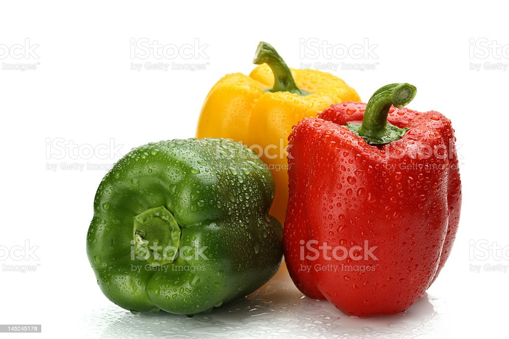 Wet bell peppers royalty-free stock photo