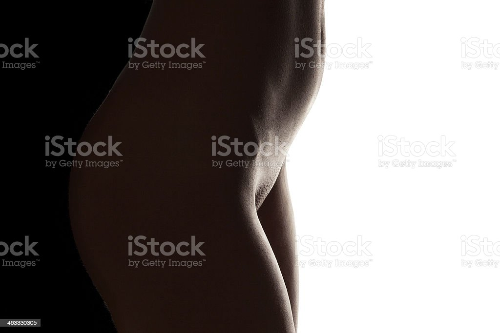 Wet belly of a beautiful nude woman royalty-free stock photo