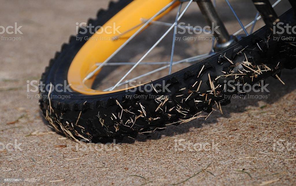 Wet Bicycle Tire stock photo