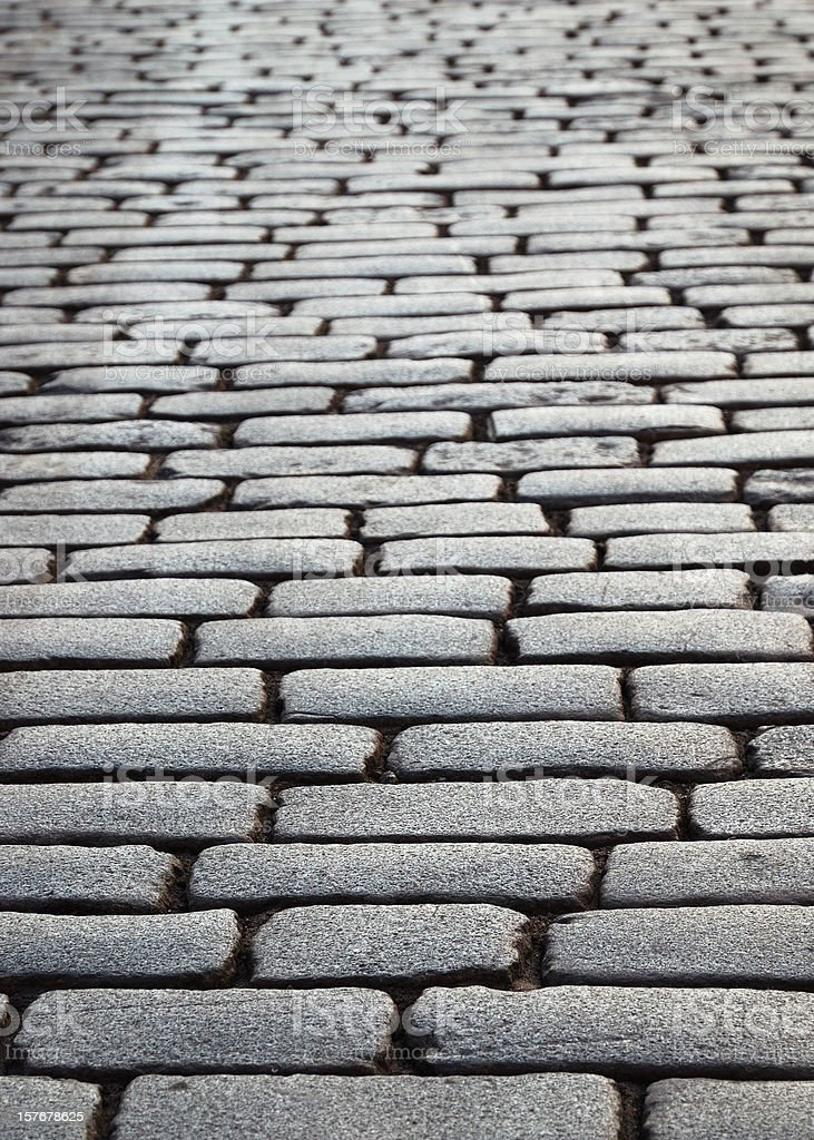 Wet block-stones of sett paving royalty-free stock photo