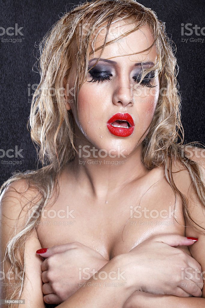 Wet blond beauty royalty-free stock photo