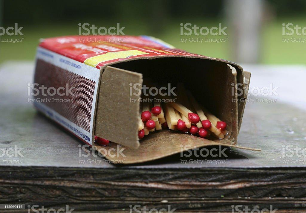 Wet box of kitchen matches stock photo